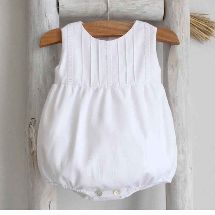 White Cotton Romper with lace details on chest