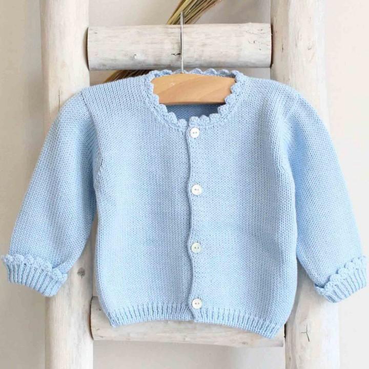 Baby blue scalloped cuff cardigan