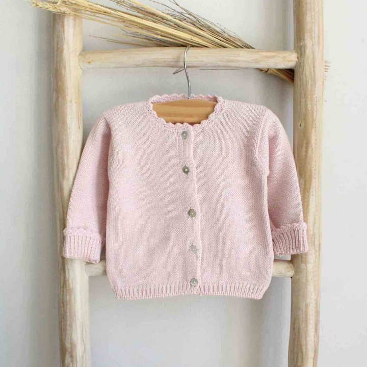 Pink scalloped cuff cardigan