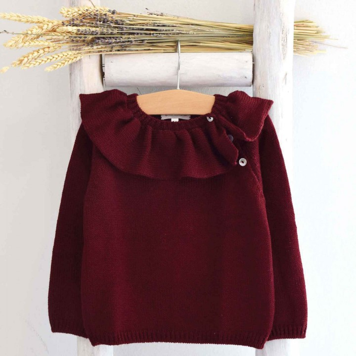 Burgundy Frilly collar Jumper
