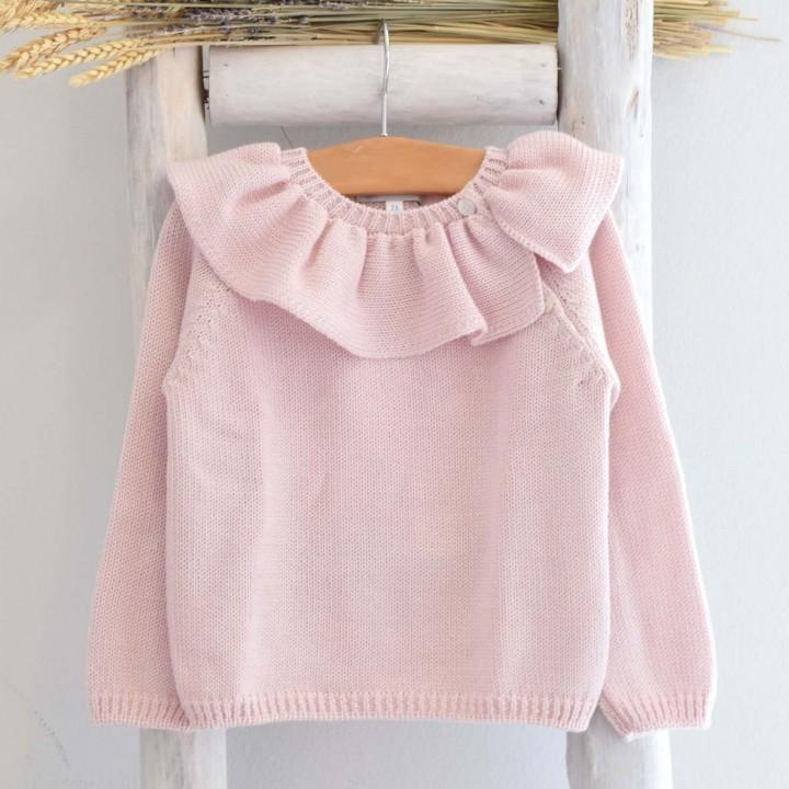 Light  Pink Frilly collar Jumper