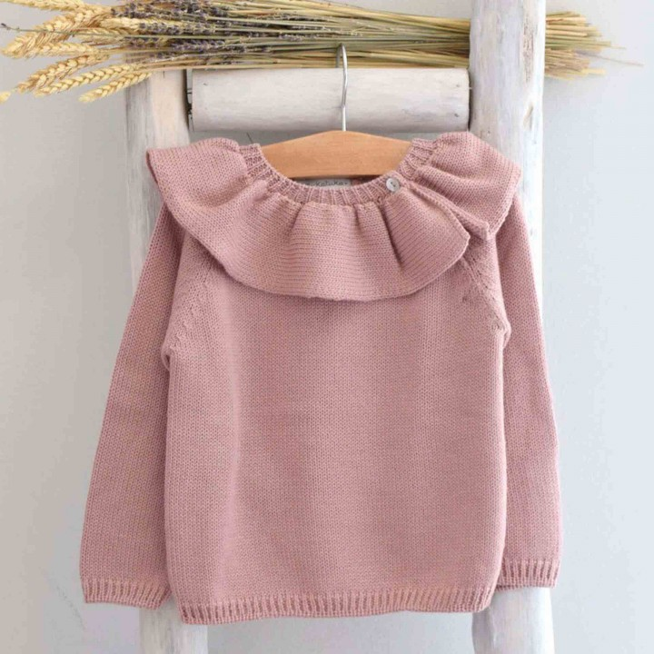 Dusty Pink Frilly collar Jumper