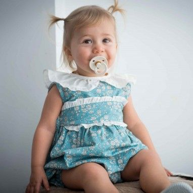 Floral Romper with frilly collar and sash