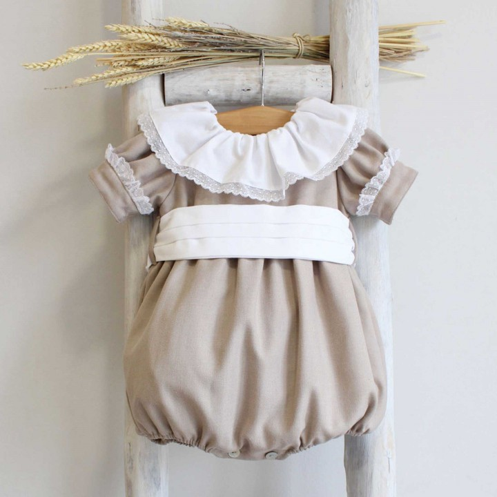 Camel Romper with frilly Collar