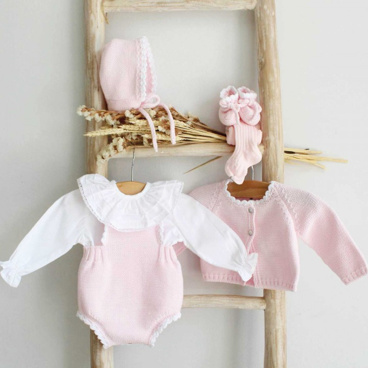 Scalloped knitted romper