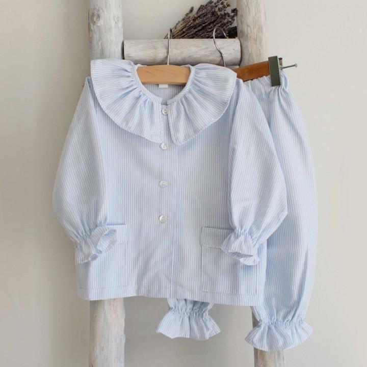 Blue Striped Frilly Collar Pyjama