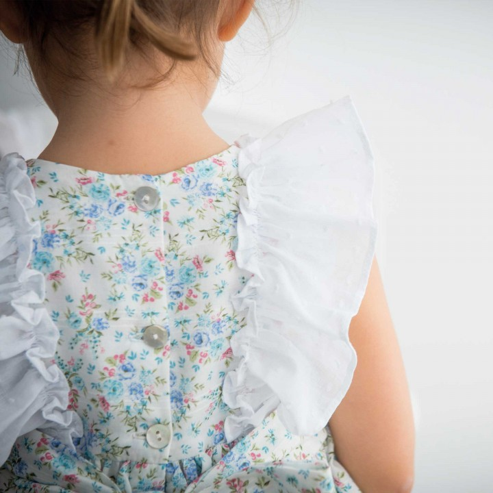 Floral dress with plumetti frills