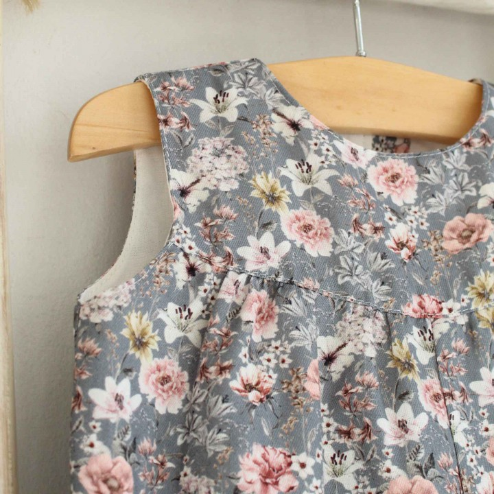 Dusty Blue Floral Overalls
