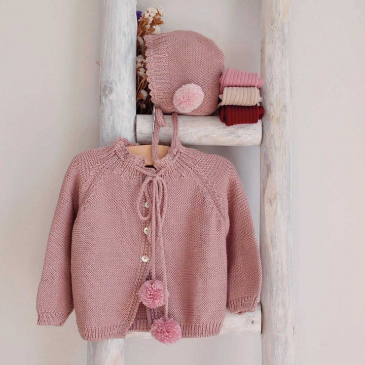 Dusty Pink Pom Pom Cardigan