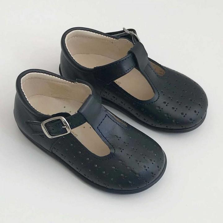 Sandálias Inglesas Picotadas Azul Escuro