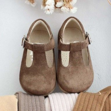 Grey Suede T-Bar Shoes
