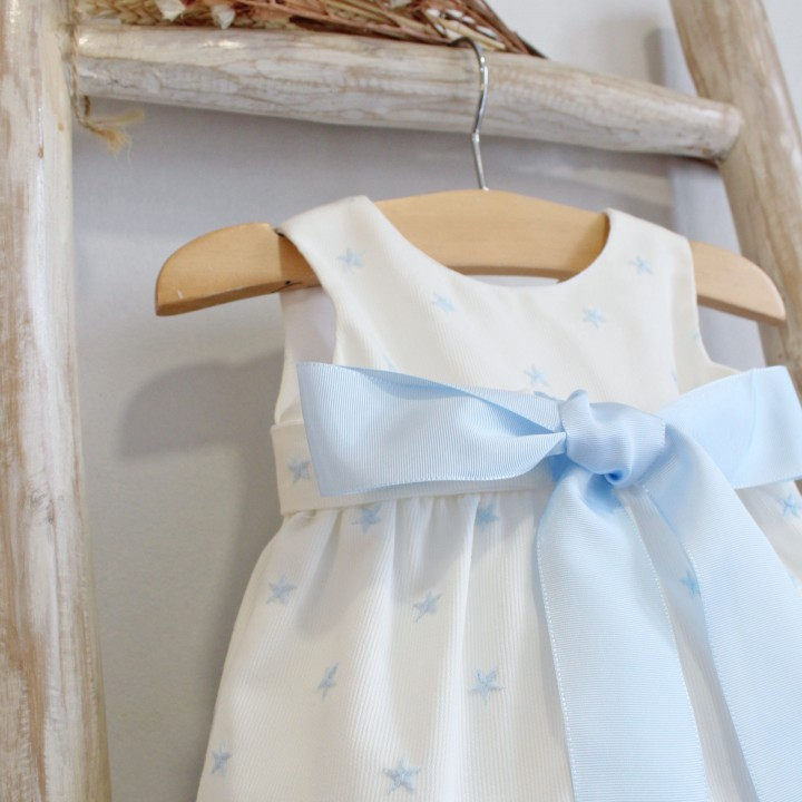 Cotton Romper with blue stars and bow