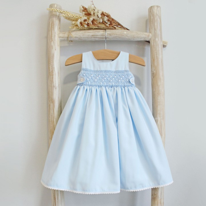 Light Blue Hand Embroidered Newborn Dress