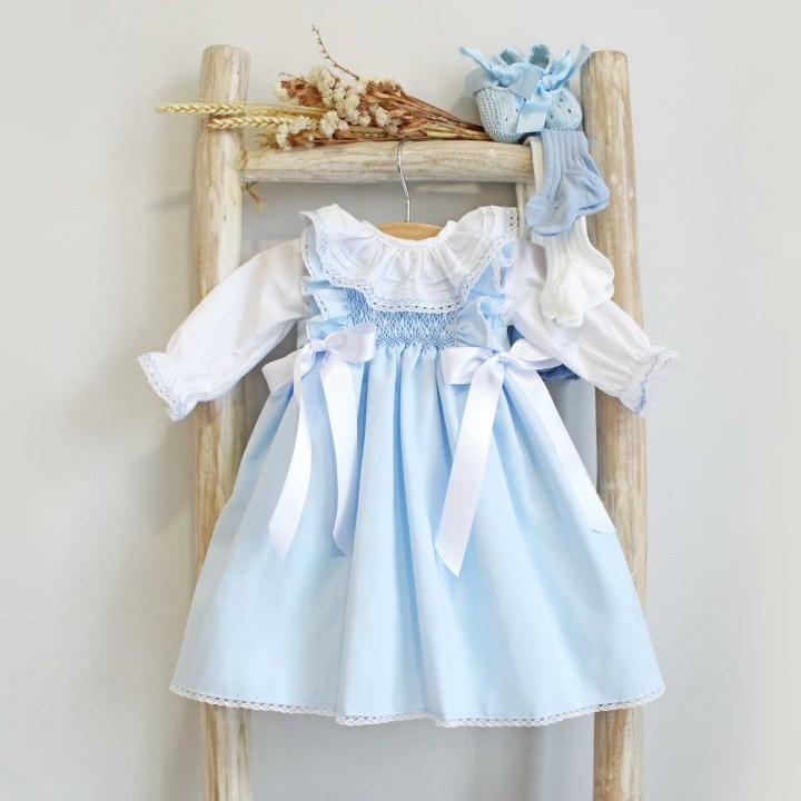 Light Blue Hand Embroidered Newborn Dress