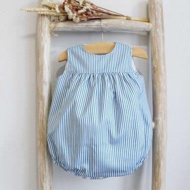 Blue Stripes Cotton Romper