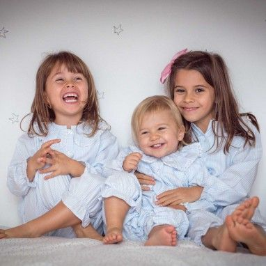 Blue Vichy Frilly Collar Pyjama