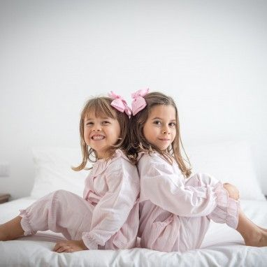 Pink Striped Frilly Collar Pyjama