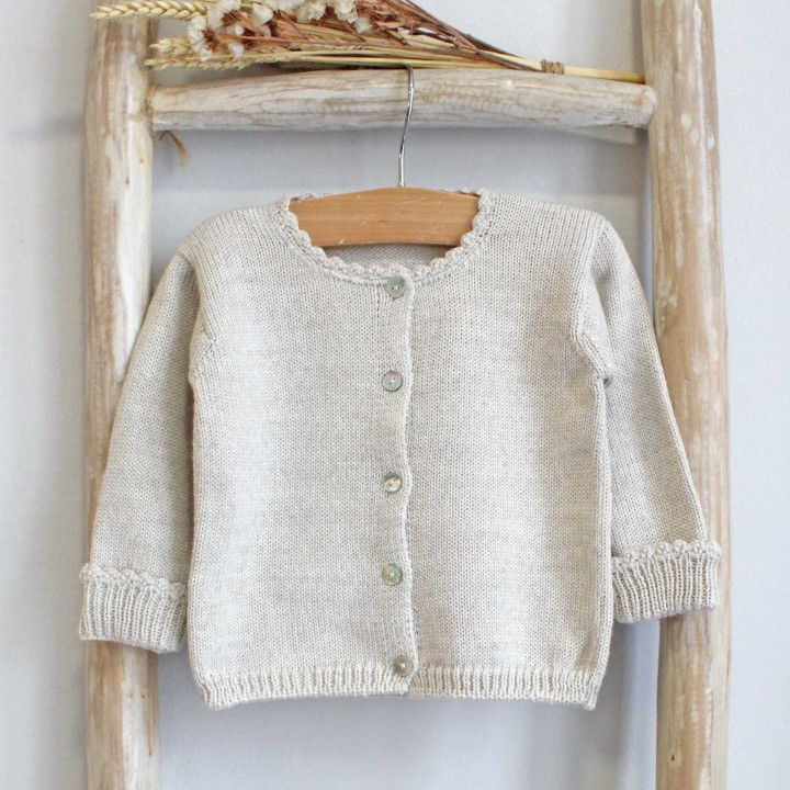 Sand Scalloped cuff cardigan