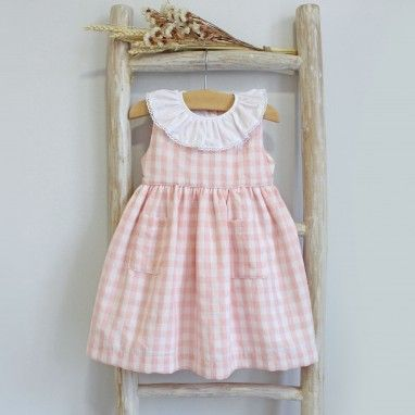 Vichy Dress with frilly collar