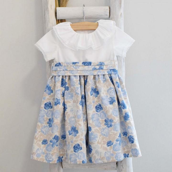 Vestido Mix Flores Azuis