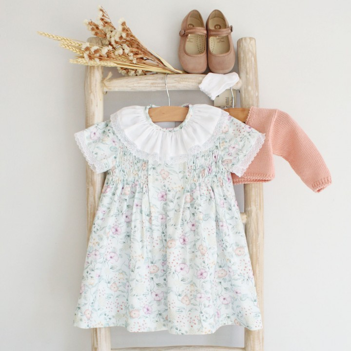 Green and Salmon flores dress