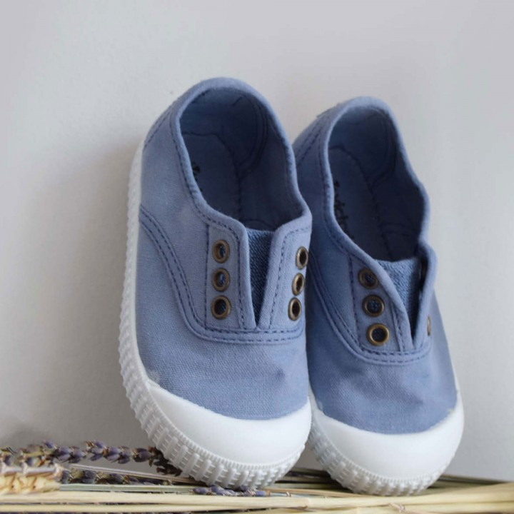 Dusty Blue Washed Canvas Shoes
