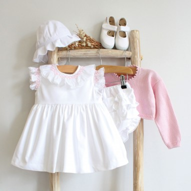 Hand embroidered dress with bloomers