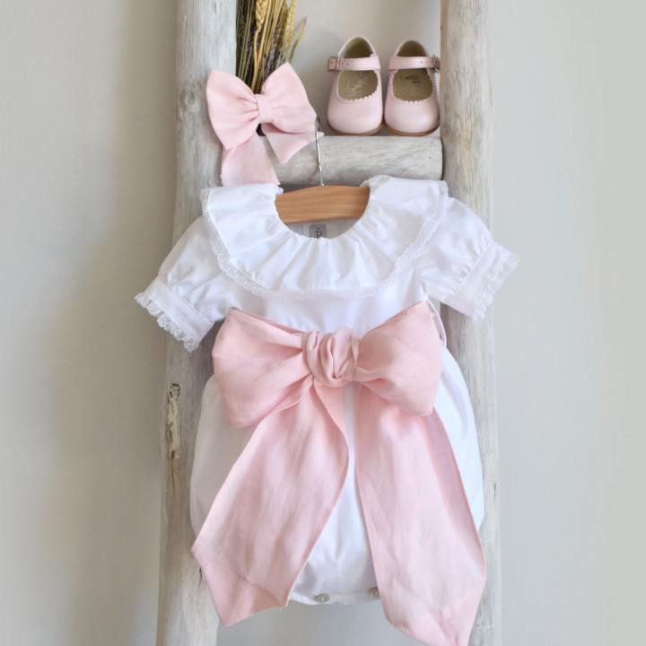 Romper with linen Bow