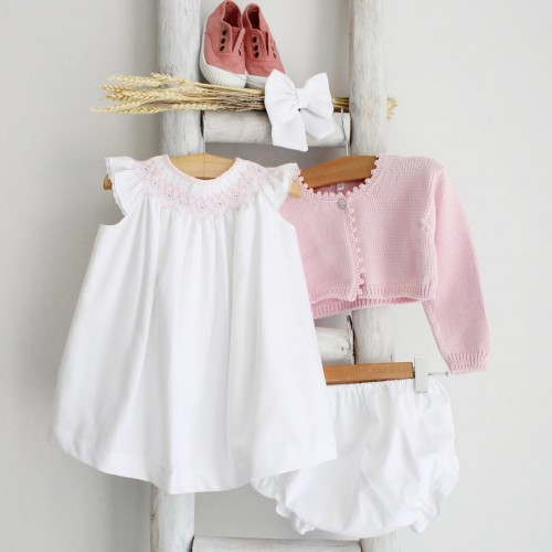 Hand Embroidered White Dress