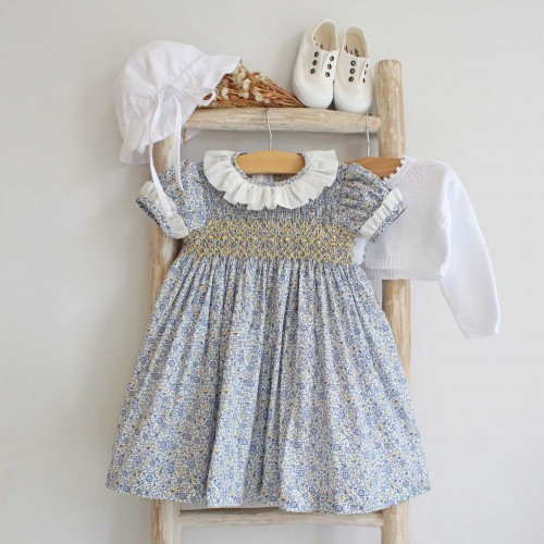 Han Embroidered Blue Flowers Liberty Dress