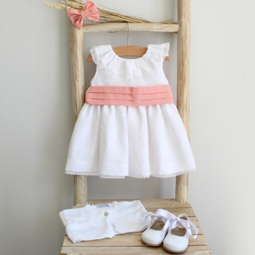 White Linen Dress with Coral Sash