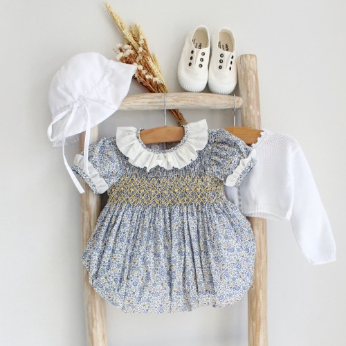 Hand Embroidered Blue Floral Romper