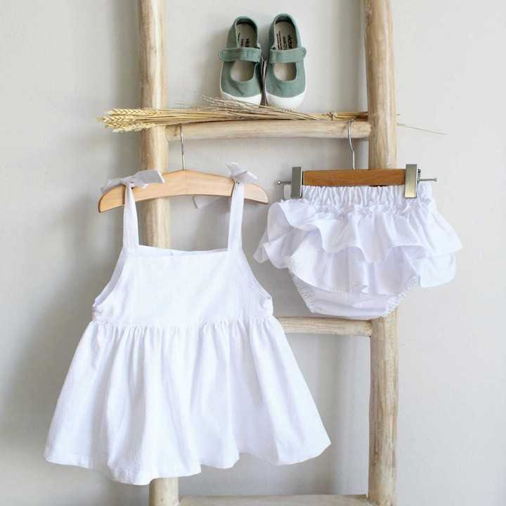 White Short dress with bloomers