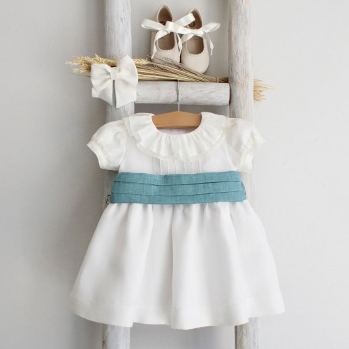 Linen Dress with Sash and Lace