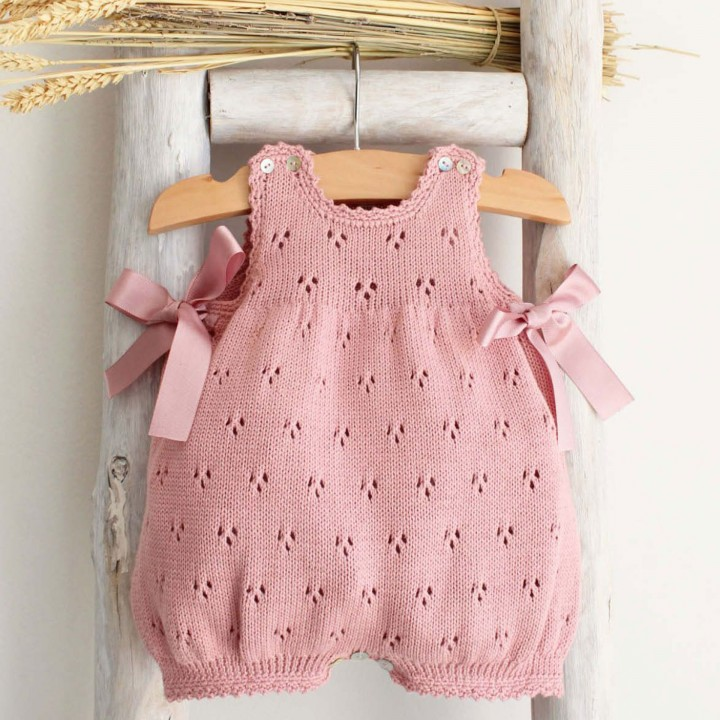 Organic cotton knitted romper with bows