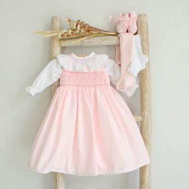Hand Embroidered Newborn Dress