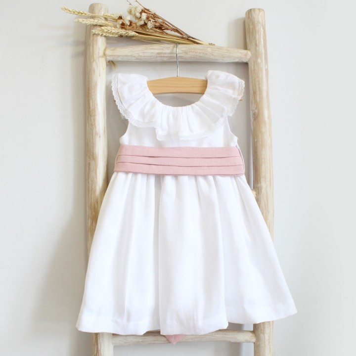 Linen Dress with dusty pink sash