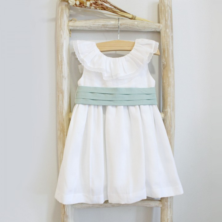 Linen Dress with green sash