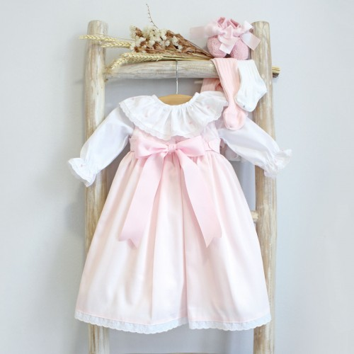 Pink Newborn Dress with Roses