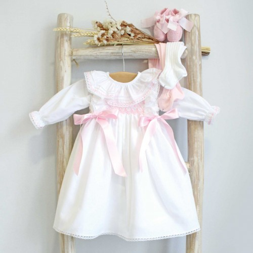 Hand Embroidered White Newborn Dress with Bows