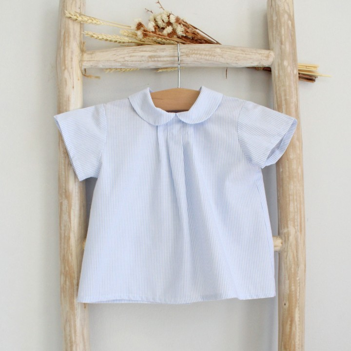 Blue Striped Peter Pan collar shirt