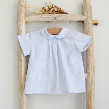 Blue Striped Peter Pan collar shirt