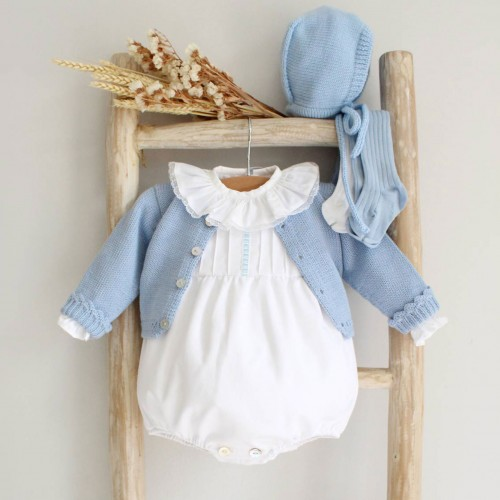 White Romper with Blue details
