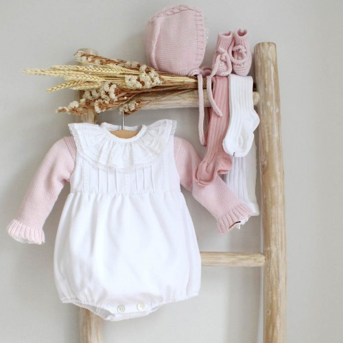 White Romper with Pink details