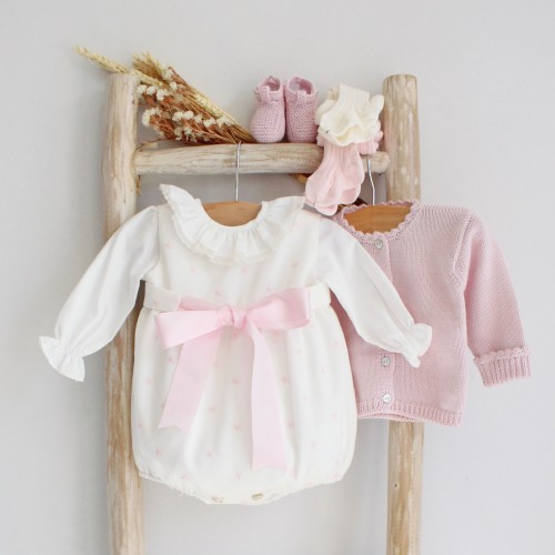 Pink Stars Romper With Bow