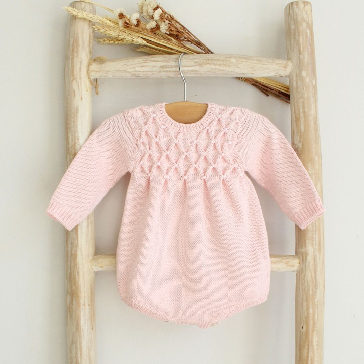 Cotton knitted romper with smocks