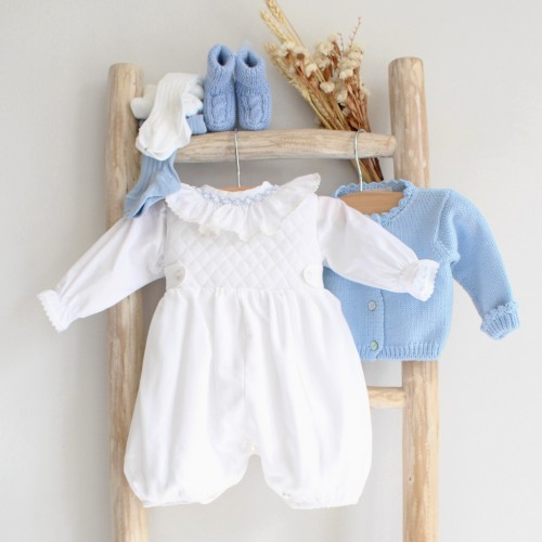 White overalls with chest details