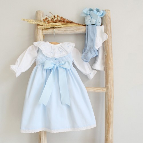 Newborn blue dress with bow and roses
