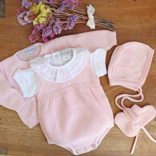 Pink Knitted Romper With Dots