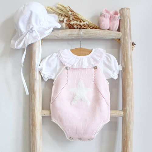 Pink Knitted Romper with a Star